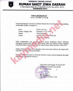 Sertifikat Penyelesaian Proyek SIMRSJ Provinsi Lampung