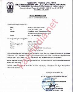 Sertifikat Penyelesaian Proyek Dishub LLAJ Prov Jawa Timur
